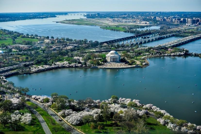 Jefferson Memorial and Tidal Basin - aerial